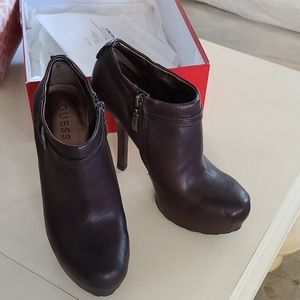 Guess Dark Brown Leather Booties like new